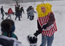 "(Boston, MA) 02/05/14 A student dressed in a fries costume partakes in a ""Snowbrawl"" at the Charles River esplanade on Wednesday, February 5, 2014. Photo by Amanda Sabga."