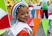 (Port of Spain, Trinidad) 03/01/14 A young girl poses in her costume while partaking in Trinidad and Tobago's annual Kiddies Carnival in downtown Port of Spain on Saturday, March 1, 2014. Photo by Amanda Sabga.
