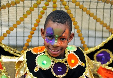 (Port of Spain, Trinidad) 03/01/14 A young boy poses in his costume while partaking in Trinidad and Tobago's annual Kiddies Carnival in downtown Port of Spain on Saturday, March 1, 2014. Photo by Amanda Sabga.