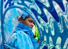 (Port of Spain, Trinidad) 03/01/14 A young girl waits for the start of the parade during Trinidad and Tobago's annual Kiddies Carnival in downtown Port of Spain on Saturday, March 1, 2014. Photo by Amanda Sabga.