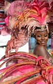(Port of Spain, Trinidad) 03/04/14 Wendy Fitzwilliam, Miss Universe 1998 and Trinidad native, models her costume during Trinidad's Carnival on Tuesday, March 4, 2014. Photo by Amanda Sabga.