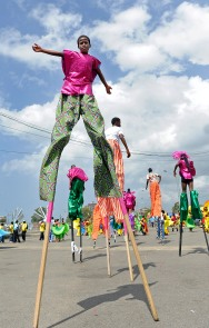 (Port of Spain, Trinidad) 03/04/14 A stilts dancer, known as a Moko Jumbie, dances as he revels in Trinidad's Carnival and celebrates through the streets of Port of Spain on Tuesday, March 4, 2014. Photo by Amanda Sabga.