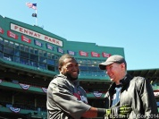 -Boston, MA, April 6, 2014- David Ortiz poses with a member of Patriot Pals before a game against the Milwaukee Brewers at Fenway Park on April 6th, 2014 at Fenway Park in Boston, Massachusetts. (Photo by Amanda Sabga/Boston Red Sox)