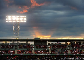 -Boston, MA, April 8, 2014- The sun sets over Fenway Park during a game against the Texas Rangers at Fenway Park on April 8th, 2014 at Fenway Park in Boston, Massachusetts. (Photo by Amanda Sabga/Boston Red Sox)