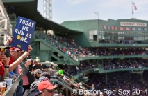 -Boston, MA, April 21, 2014- Fans celebrate the Boston Marathon during a game against the Baltimore Orioles at Fenway Park on April 21st, 2014 at Fenway Park in Boston, Massachusetts. (Photo by Amanda Sabga/Boston Red Sox)
