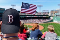 -Boston, MA, April 21, 2014- Fans show their patriotism on game against the Baltimore Orioles at Fenway Park on April 21st, 2014 at Fenway Park in Boston, Massachusetts. (Photo by Amanda Sabga/Boston Red Sox)