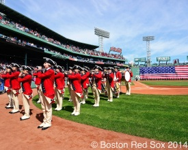 -Boston, MA, April 21, 2014- The national anthem is performed as pre-game ceremonies commence before a game against the Baltimore Orioles at Fenway Park on April 21st, 2014 at Fenway Park in Boston, Massachusetts. (Photo by Amanda Sabga/Boston Red Sox)