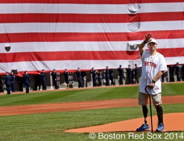 -Boston, MA, April 21, 2014- Boston Marathon bombing survivor Marc Fucarile waves to the fans before throwing out the ceremonial fist pitch during a game against the Baltimore Orioles at Fenway Park on April 21st, 2014 at Fenway Park in Boston, Massachusetts. (Photo by Amanda Sabga/Boston Red Sox)