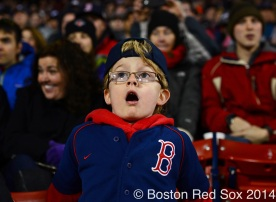 -Boston, MA, April 23, 2014- A young fan reacts during a game against the New York Yankees at Fenway Park on April 23rd, 2014 at Fenway Park in Boston, Massachusetts. (Photo by Amanda Sabga/Boston Red Sox)