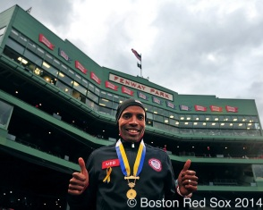 -Boston, MA, April 23, 2014- 2014 Boston Marathon winner Meb Keflezighi poses before a game against the New York Yankees at Fenway Park on April 23rd, 2014 at Fenway Park in Boston, Massachusetts. (Photo by Amanda Sabga/Boston Red Sox)