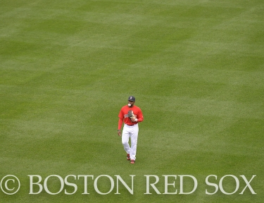-Boston, MA, May 1, 2014- Jackie Bradley Jr. in the outfield after a rainout yesterday lead to an afternoon game against the Tampa Bay Rays at Fenway Park on May 1st, 2014 at Fenway Park in Boston, Massachusetts. (Photo by Amanda Sabga/Boston Red Sox)