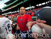 -Boston, MA, May 1, 2014- Shane Victorino meets with guest from his Flyin' Hawaiian All-Stars charity before a game against Tampa Bay Rays at Fenway Park on May 1st, 2014 at Fenway Park in Boston, Massachusetts. (Photo by Amanda Sabga/Boston Red Sox)