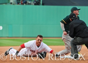 -Boston, MA, May 4, 2014- Will Middlebrooks is outed during a game against the Oakland Athletics at Fenway Park on May 4th, 2014 at Fenway Park in Boston, Massachusetts. (Photo by Amanda Sabga/Boston Red Sox)