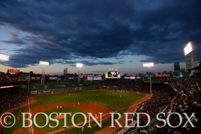 -Boston, MA, May 6, 2014- The sun sets a shade of deep blue during a game against the Cincinnati Reds at Fenway Park on May 6th, 2014 at Fenway Park in Boston, Massachusetts. (Photo by Amanda Sabga/Boston Red Sox)