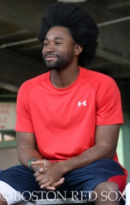 -Boston, MA, May 17, 2014- Jackie Bradley Jr. during a Health and Wellness event hosted by Covidien on May 17th, 2014 at Fenway Park in Boston, Massachusetts. (Photo by Amanda Sabga/Boston Red Sox)
