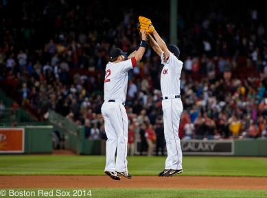 -Boston, MA, June 12 2014- Mike Napoli and Koji Uehara celebrate a win after a game against the Cleveland Indians on June 12th, 2014 at Fenway Park in Boston, Massachusetts. (Photo by Amanda Sabga/Boston Red Sox)