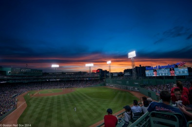 -Boston, MA, June 16 2014- The sun sets during a game against the Minnesota Twins on June 16th, 2014 at Fenway Park in Boston, Massachusetts. (Photo by Amanda Sabga/Boston Red Sox)