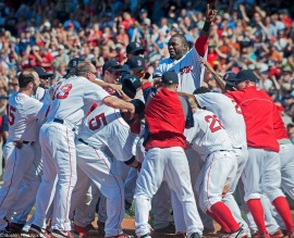 -Boston, MA, June 18 2014- Red Sox players celebrate a walk-off win against the Minnesota Twins on June 18th, 2014 at Fenway Park in Boston, Massachusetts. (Photo by Amanda Sabga/Boston Red Sox)