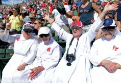 -Boston, MA, June 18 2014- Nuns sing along to sweet caroline during Nun day and a game against the Minnesota Twins on June 18th, 2014 at Fenway Park in Boston, Massachusetts. (Photo by Amanda Sabga/Boston Red Sox)