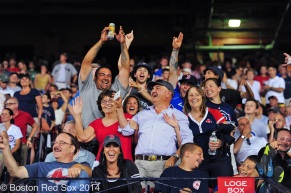 -Boston, MA, June 30 2014- Fans sing during a game against the Chicago Cubs on June 30th, 2014 at Fenway Park in Boston, Massachusetts. (Photo by Amanda Sabga/Boston Red Sox)