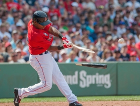 -Boston, MA, July 5 2014- Jonathan Herrera breaks his bat on the game winning hit against the Baltimore Orioles on July 5th, 2014 at Fenway Park in Boston, Massachusetts. (Photo by Amanda Sabga/Boston Red Sox)