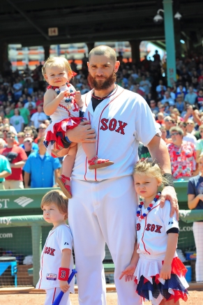 -Boston, MA, July 6 2014- Jonny Gomes and his kids during Red Sox family day pre-game ceremonies before a game against the Baltimore Orioles on July 6th, 2014 at Fenway Park in Boston, Massachusetts. (Photo by Amanda Sabga/Boston Red Sox)