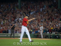 -Boston, MA, August 1, 2014- Koji Uehara pitches in the 9th inning to close a game against the New York Yankees at Fenway Park on August 1st, 2014(Photo by Amanda Sabga/Boston Red Sox)