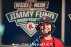 -Boston, MA, August 19, 2014- Dustin Pedroia stops by the Jimmy Fund Radio Telethon at Fenway Park on August 19th, 2014(Photo by Amanda Sabga/Boston Red Sox)