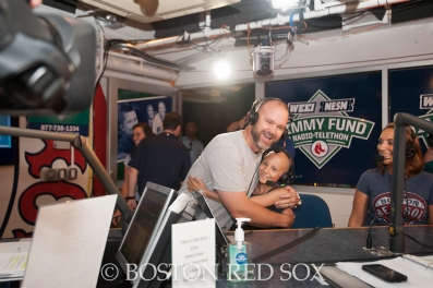 -Boston, MA, August 19, 2014-David Ross stops by the Jimmy Fund Radio Telethon at Fenway Park on August 19th, 2014(Photo by Amanda Sabga/Boston Red Sox)