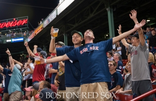 -Boston, MA, August 19, 2014- Fans cheer and sing during a game against the Los Angeles Angels at Fenway Park on August 19th, 2014 (Photo by Amanda Sabga/Boston Red Sox)