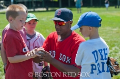 "-Boston, MA, August 19, 2014- Rubby De La Rosa participates in a baseball clinic with Kids as part of the Boston Parks & Recreation Department's ""Sox Talk"" program at Garvey Park in Dorchester on August 19th, 2014 (Photo by Amanda Sabga/Boston Red Sox)"