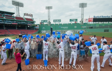 -Boston, MA, August 21, 2014- The Red Sox front office staff does the ALS Ice Bucket Challenge with help from the team at Fenway Park on August 21st, 2014 (Photo by Amanda Sabga/Boston Red Sox)