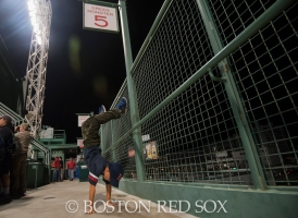 -Boston, MA, August 21, 2014- A young fan dances to walk on music during a game against the Los Angeles Angels at Fenway Park on August 21st, 2014 (Photo by Amanda Sabga/Boston Red Sox)