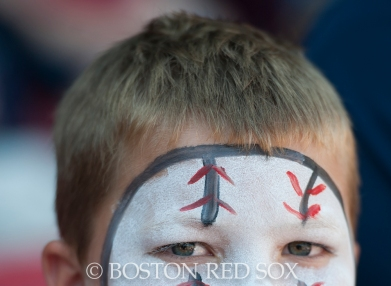 "-Boston, MA, September 7, 2014- A young fan sports a ""baseball"" face during a game against the Toronto Blue Jays at Fenway Park on September 7th, 2014 (Photo by Amanda Sabga/Boston Red Sox)"