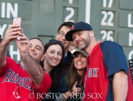 -Boston, MA, September 24, 2014- David Ross greets fans on the warning track for On-Field photo day before a game against the Tampa Bay Rays at Fenway Park on September 24th, 2014 (Photo by Amanda Sabga/Boston Red Sox)