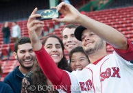 -Boston, MA, September 24, 2014- Joe Kelly takes a selfie with fans on the warning track for On-Field photo day before a game against the Tampa Bay Rays at Fenway Park on September 24th, 2014 (Photo by Amanda Sabga/Boston Red Sox)