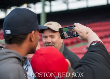-Boston, MA, September 24, 2014- Xander Bogaerts stops for a photo on the warning track for On-Field photo day before a game against the Tampa Bay Rays at Fenway Park on September 24th, 2014 (Photo by Amanda Sabga/Boston Red Sox)