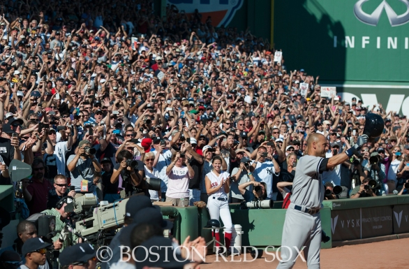 -Boston, MA, September 28, 2014- Derek Jeter waves to fans as he leaves his final game and the season closing game against the New York Yankees at Fenway Park on September 28th, 2014 (Photo by Amanda Sabga/Boston Red Sox)