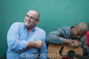 -Boston, MA, September 28, 2014- Irish Tenor Ronan Tynan and former Yankee Bernie Williams wait to take the field for the 7th inning stretch during the season closing game against the New York Yankees at Fenway Park on September 28th, 2014 (Photo by Amanda Sabga/Boston Red Sox)