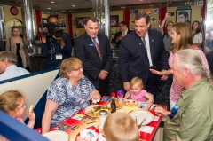 AMANDA SABGA/ Staff photo Republican presidential candidate and New Jersey Gov. Chris Christie visits MarryAnn's Diner in Derry and chats with the breakfast crowd. 7/3/15