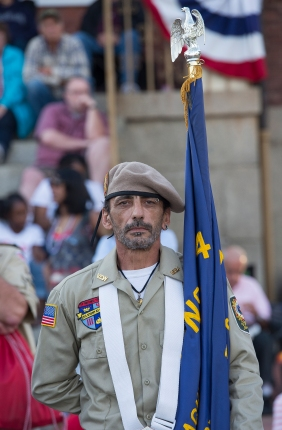 AMANDA SABGA/ Staff photo The Salem Veterans Honor Guard lead a parade down the wharf as Salem celebrates Independence Day with festivities and fireworks at the Salem Maritime National Historic Site on Derby Wharf. 7/4/15